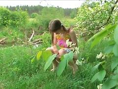 Beata playing outdoors