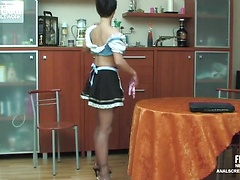 Luscious maid getting her tight bum hole pumped in all positions possible