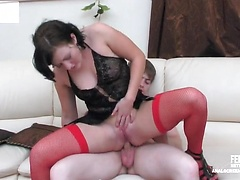 Smashing looking babe in silky red stockings getting a proper anal workout