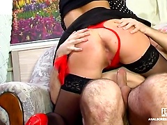 Raunchy French maid doesn't mind some ass-screwing games after oral duties