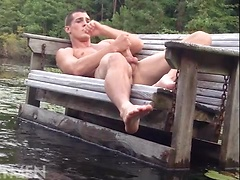 Porter Handheld jacking off dick outdoors