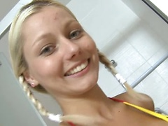 18yo schoolgirl Pinky June takes shower and masturbaes