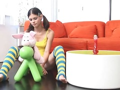 See what Little Caprice usually does when she has no cock to ride on!