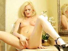 Skylar Green teasing her shaved pussy