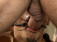 Creepy handyman choke fucks an unwilling student in bondage