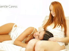 Cute lesbians Denisa Heaven and Kari in Gentle Caress