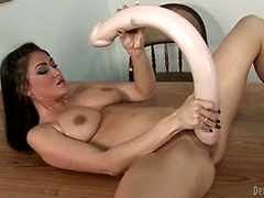 Victoria Love stretch her pussy with HUGE toys