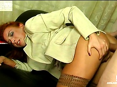 Boring business-meeting having a hardcore finale up the ass of a kinky babe