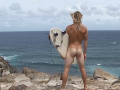 Kip is Back! Hung blond surfer strokse on a beach in Hawaii!