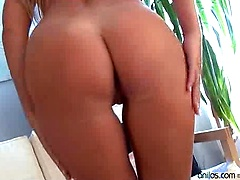 Leggy blonde Anilos Vivien flaunts her tight ass and fucks a long huge dildo