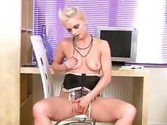 Hot blonde cougar Natalie fingers her Anilos pussy for solo orgasm during her office break