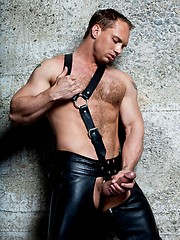 Hot muscle man in leather