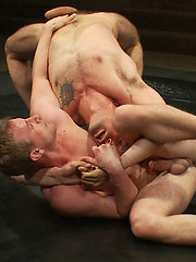 Tight ripped bodies, big meaty cocks, beautiful round bubble butts, and mad wrestling skills... two studs fight for the chance to fuck some loser ass.