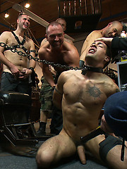 Ripped stud gets his hole shocked and filled at Mr. S Leather Store.