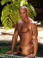 Vin Marco poaing naked outdoors