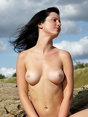 Lucia posing naked outdoors