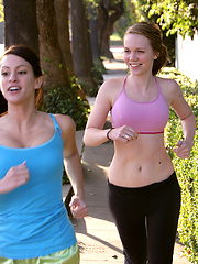 Lily Lovejoy and Talia Shepard take a shower together ater a nice long run