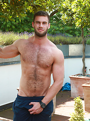 Straight Young Muscular Lad Tom Strips, Wanks & Explodes over his Very Hairy Chest!