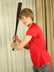 Chicago twink Jade jerks off into his baseball glove.