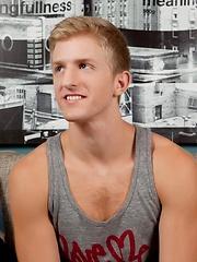 Hot blond Levi Michaels masturbates