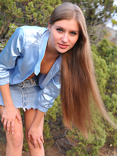 Russian girl Viva shows pussy outdoors