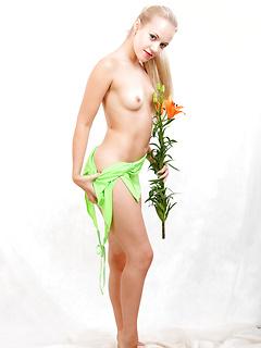 Blonde girl poses