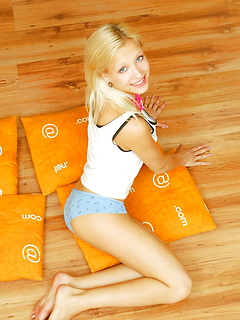 Hot Blonde with Pillows