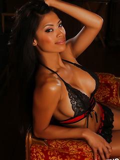 Stunning busty Alluring Vixen babe Sherri teases in a semi sheer tube top