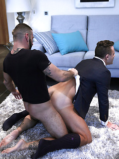Gay Muscle Men in Suits Fuck and Posing Naked Pics